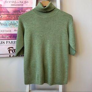 Eileen Fisher 100% Merino Wool Green Sweater Small